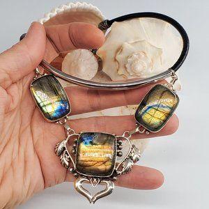 Leather/Silver Necklace Genuine Labradorite Stone
